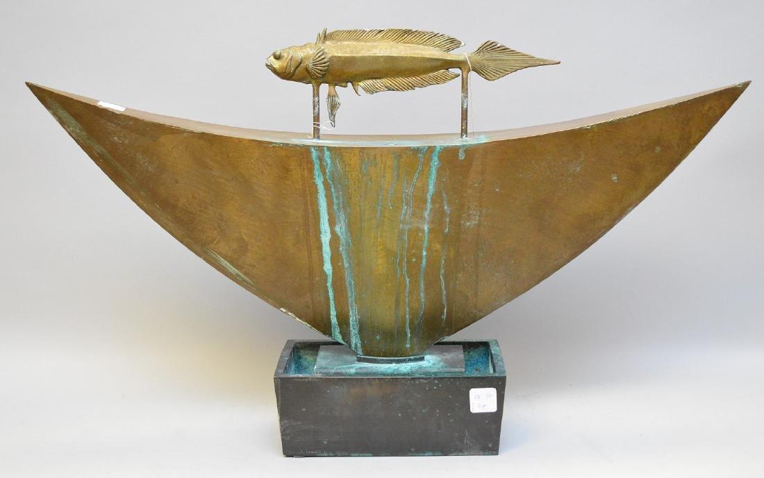 """Mid Century bronze fountain, by Pozycinski, 27 1/2"""" x"""