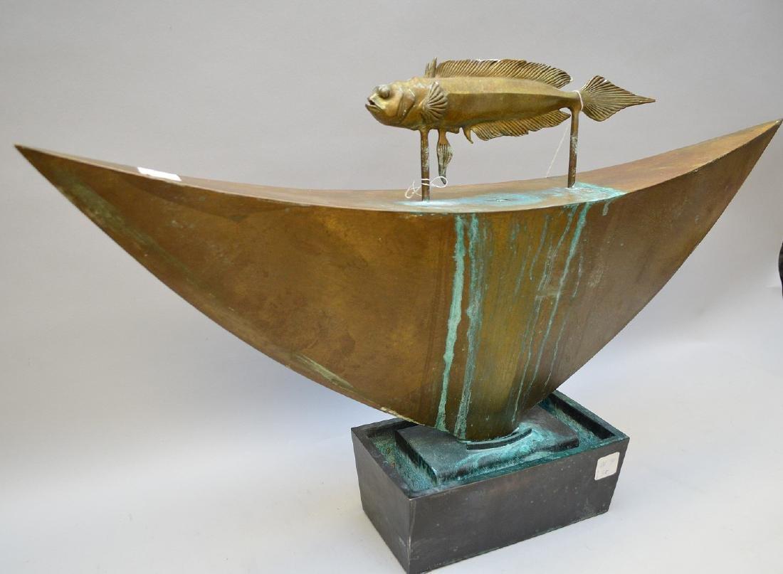 """Mid Century bronze fountain, by Pozycinski, 27 1/2"""" x - 3"""
