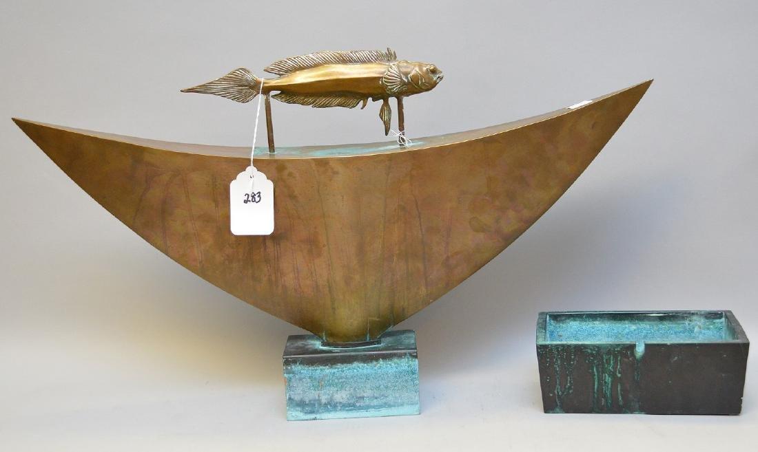 """Mid Century bronze fountain, by Pozycinski, 27 1/2"""" x - 4"""