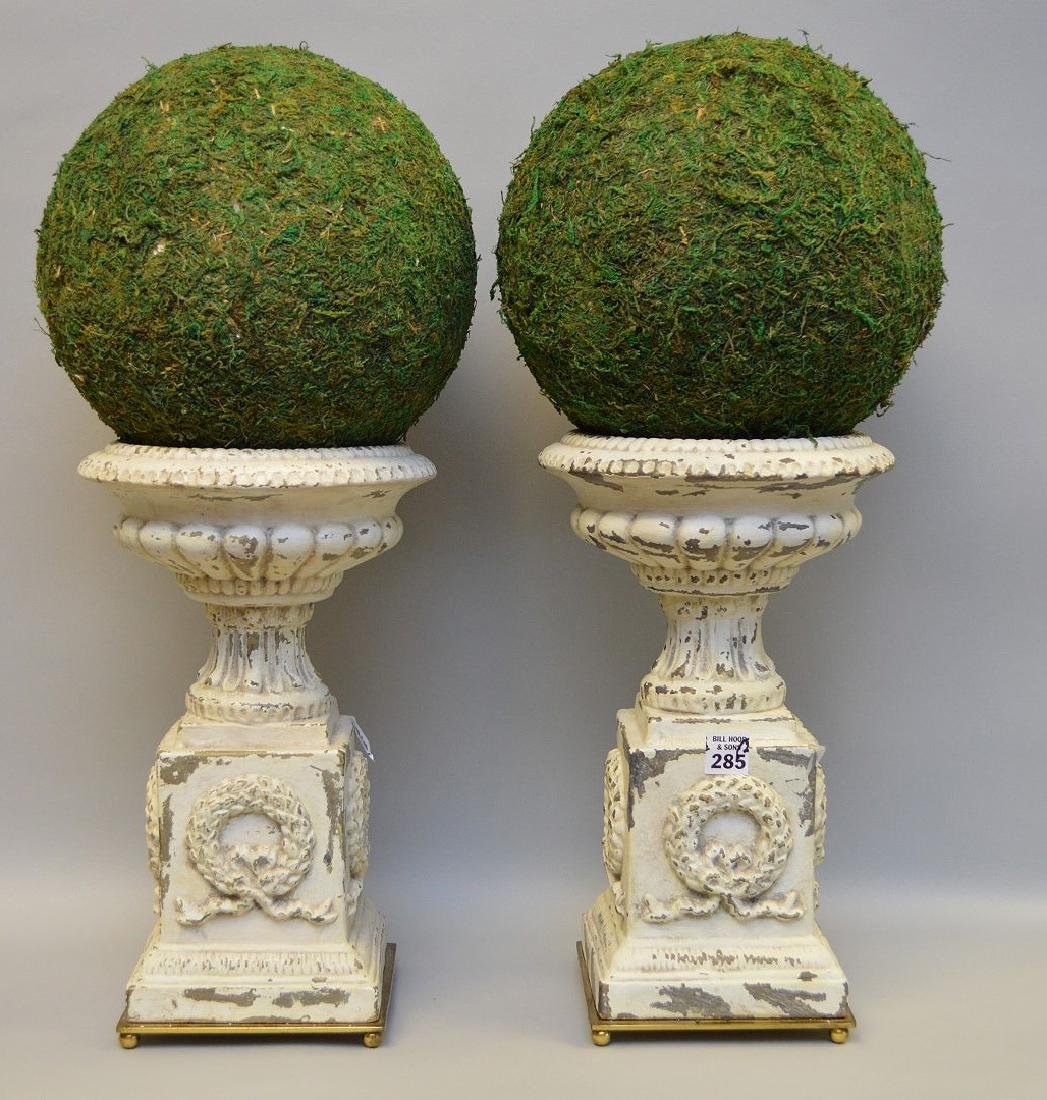 """Pair of white metal urns, 14""""h (paint loss)"""