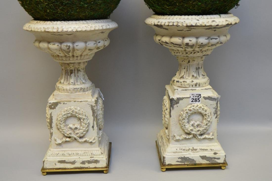 """Pair of white metal urns, 14""""h (paint loss) - 2"""