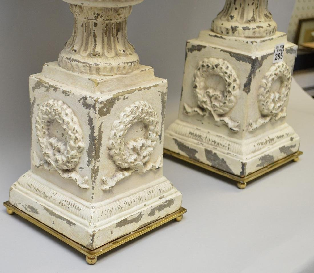 """Pair of white metal urns, 14""""h (paint loss) - 3"""