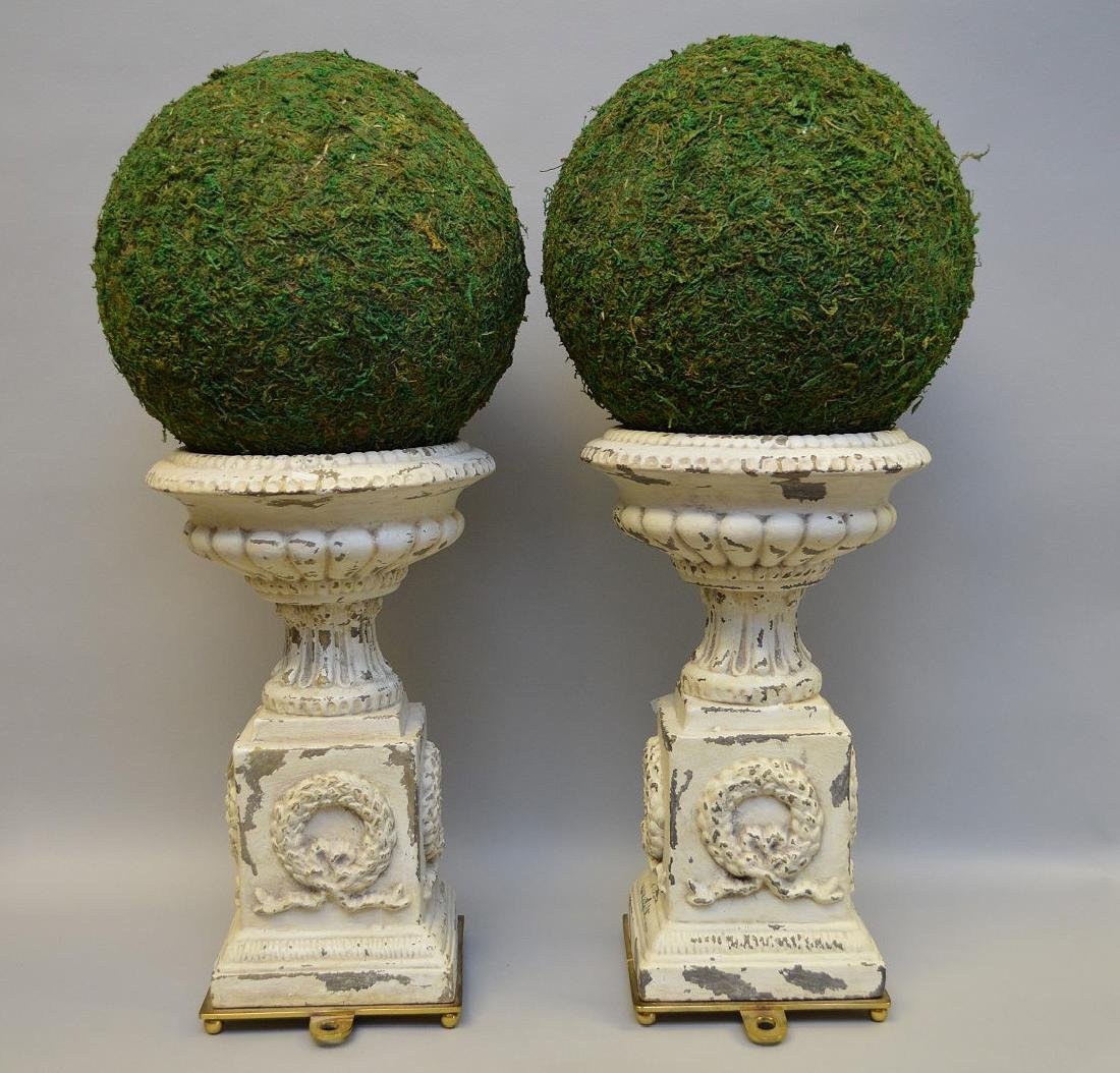 """Pair of white metal urns, 14""""h (paint loss) - 4"""