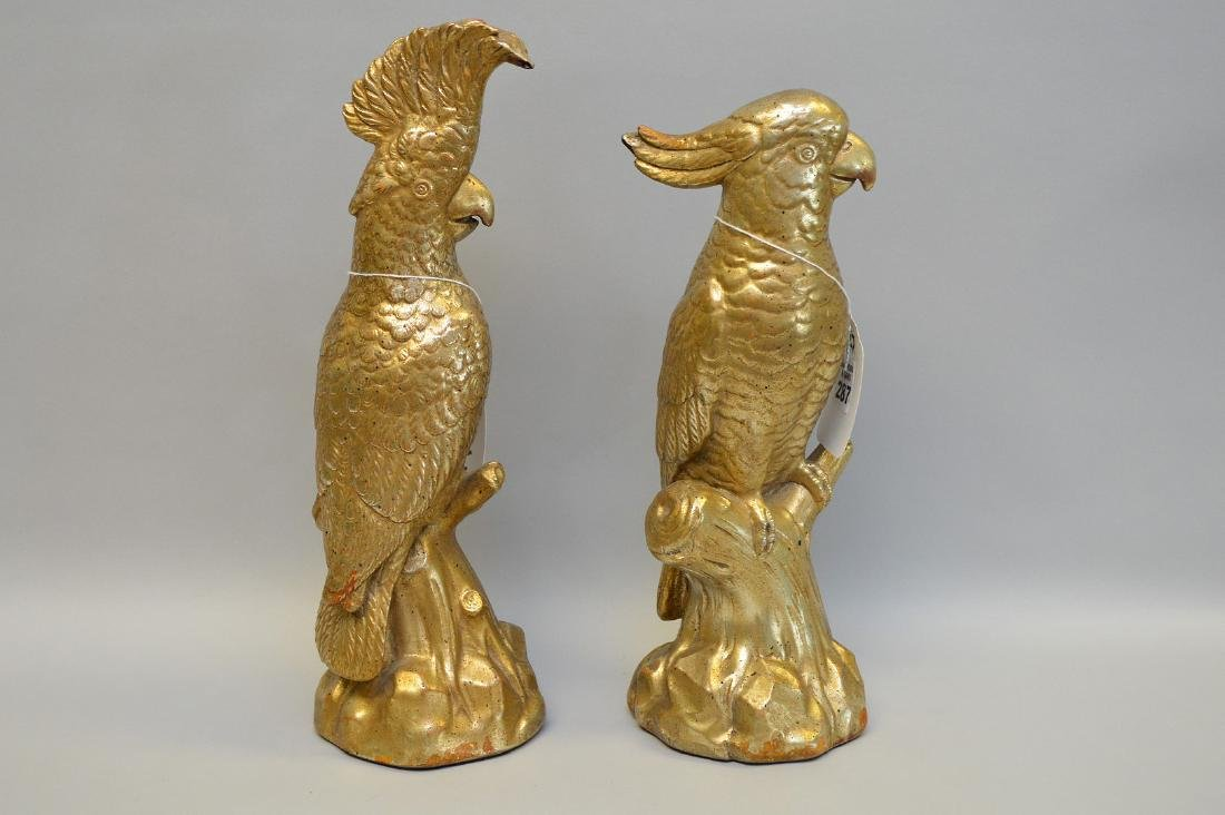 """Pair of signed Borghese figures of parrots, 12 1/4""""h"""