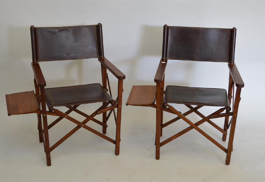 Pair of folding Safari/Camping chairs, Buffalo hide,