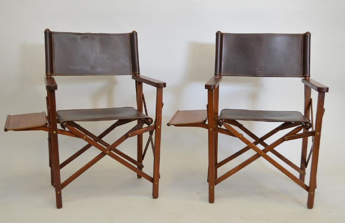 Pair of folding Safari/Camping chairs, Buffalo hide, - 3