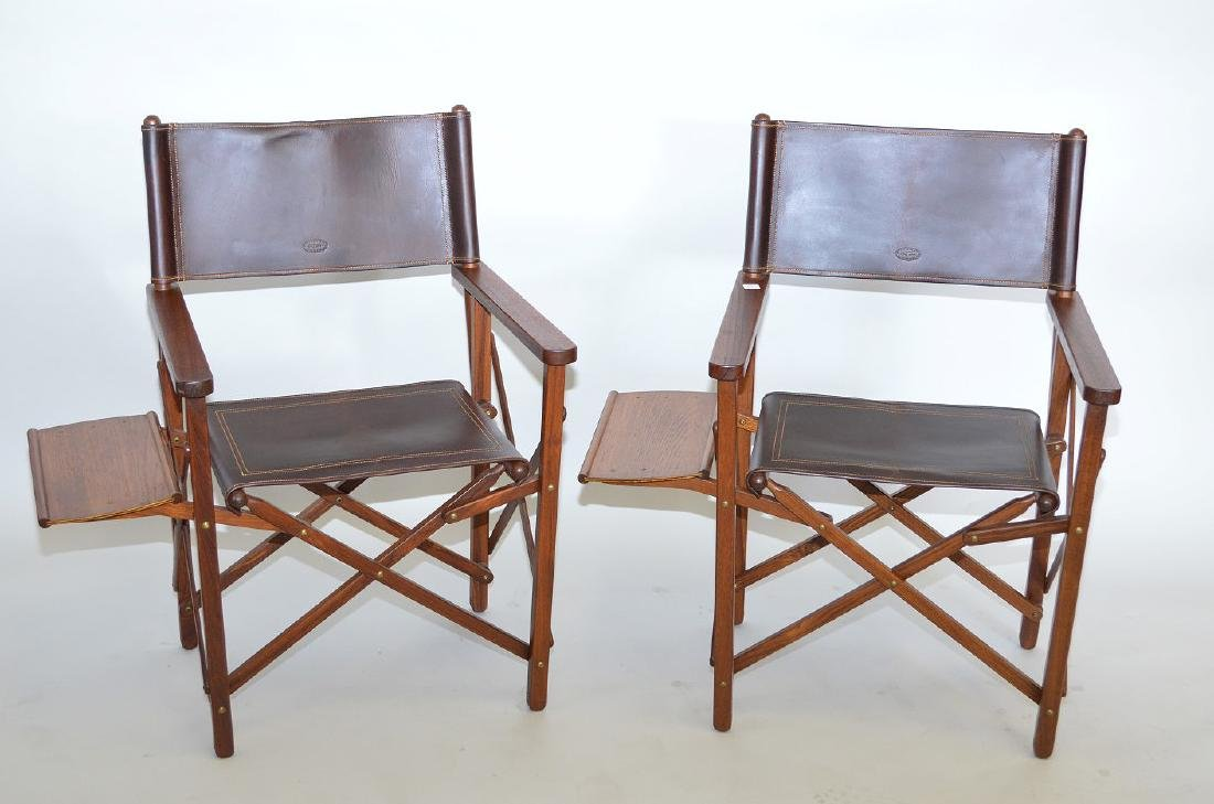 Pair of folding Safari/Camping chairs, Buffalo hide, - 7