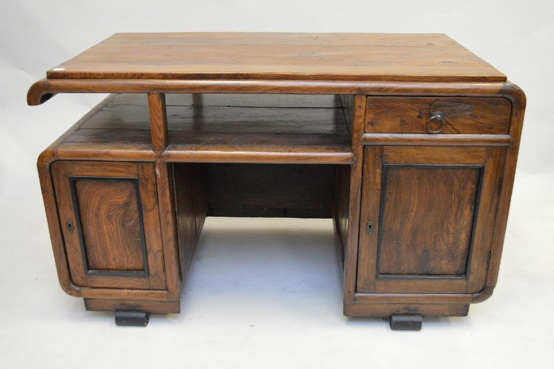 Art Deco wood desk, double pedestal