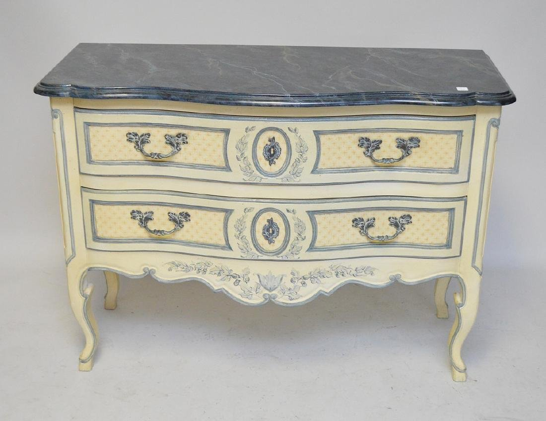 Country French 2 drawer serpentine chest, faux marble