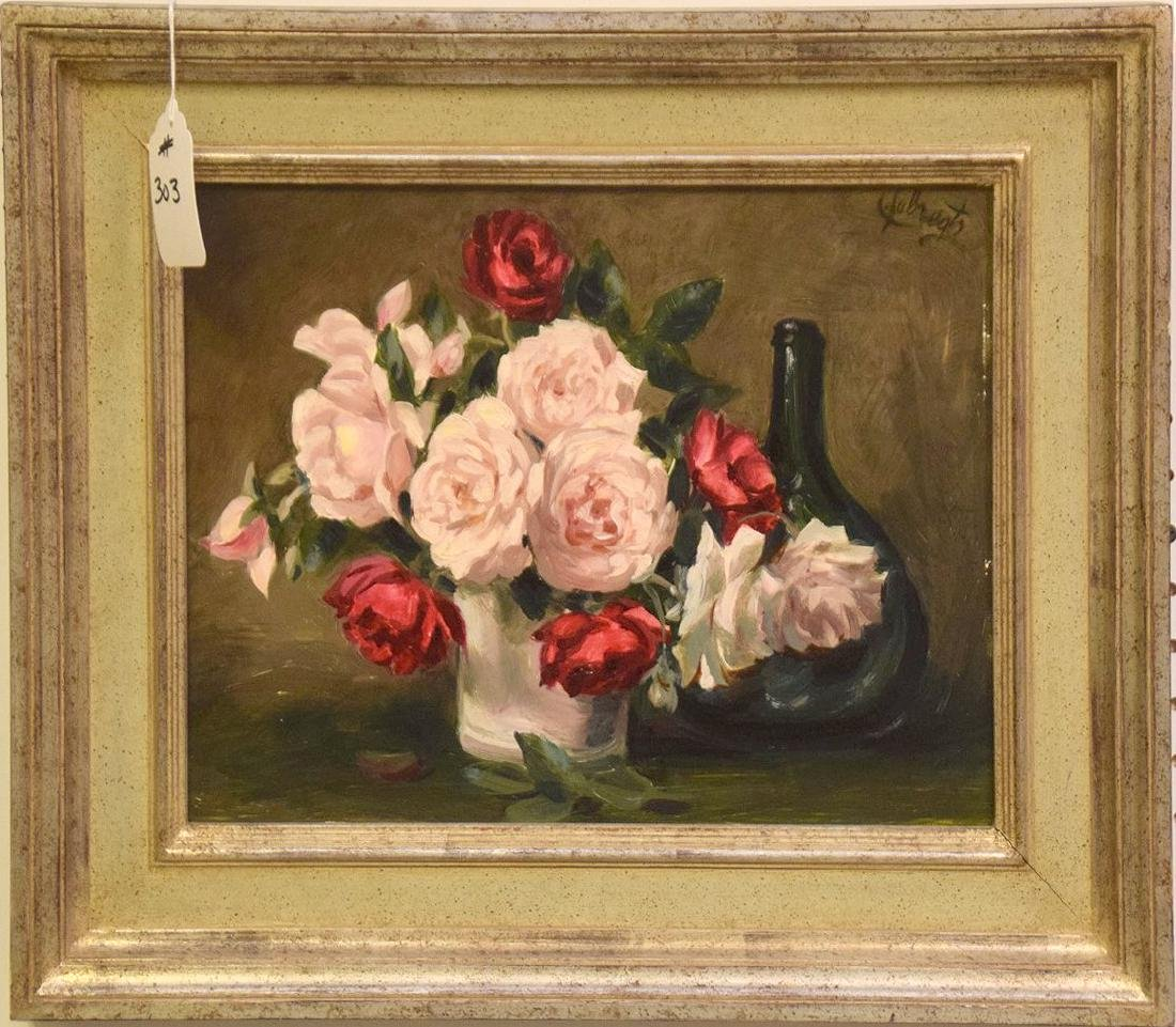 Lode Sebregts still life flowers, oil on board, 12 x 16