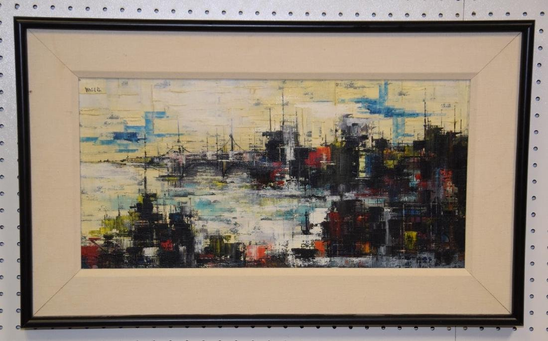 Modern Parisian scene signed Wolf '62, canvas size 12 x
