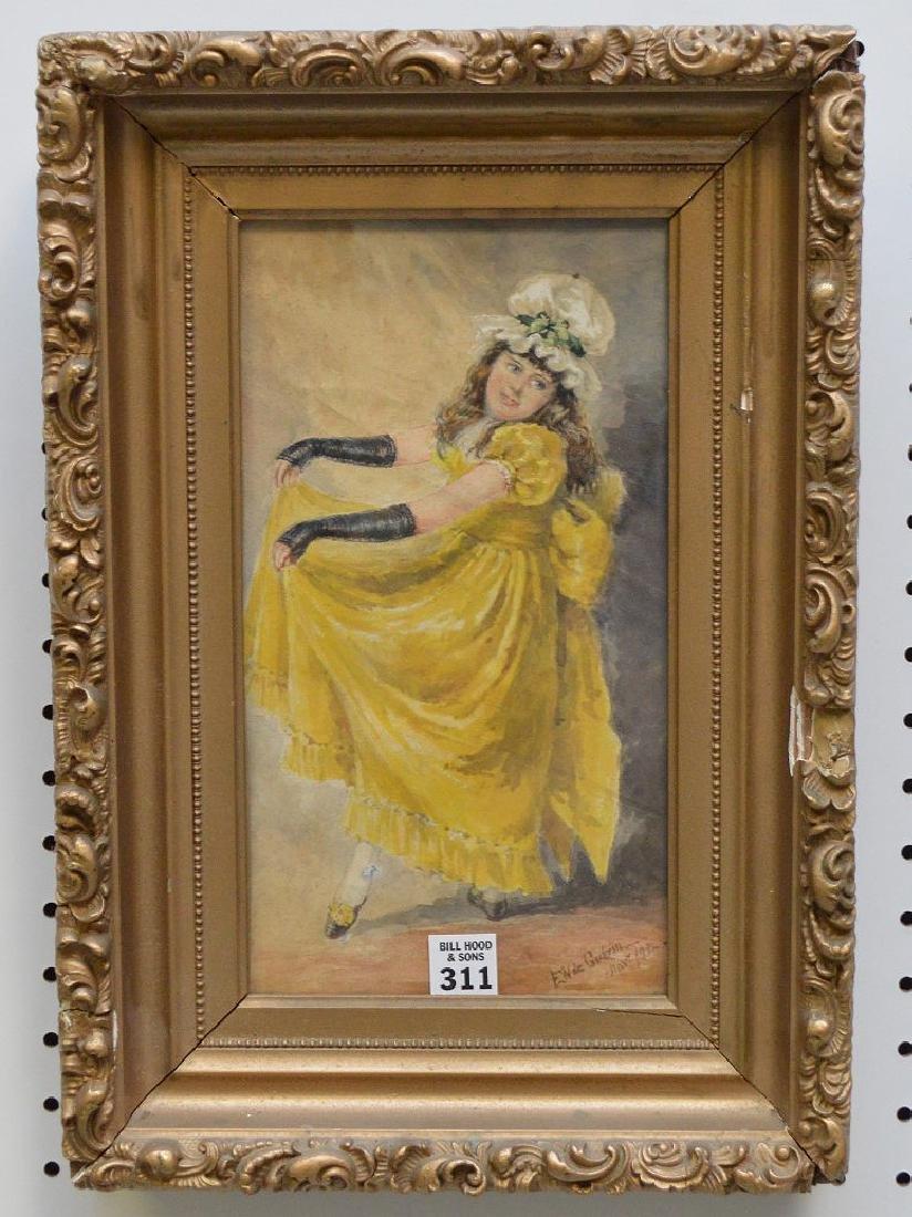 "F. W. Guerin (American 1846-1903) ""Young Girl Dancing""."