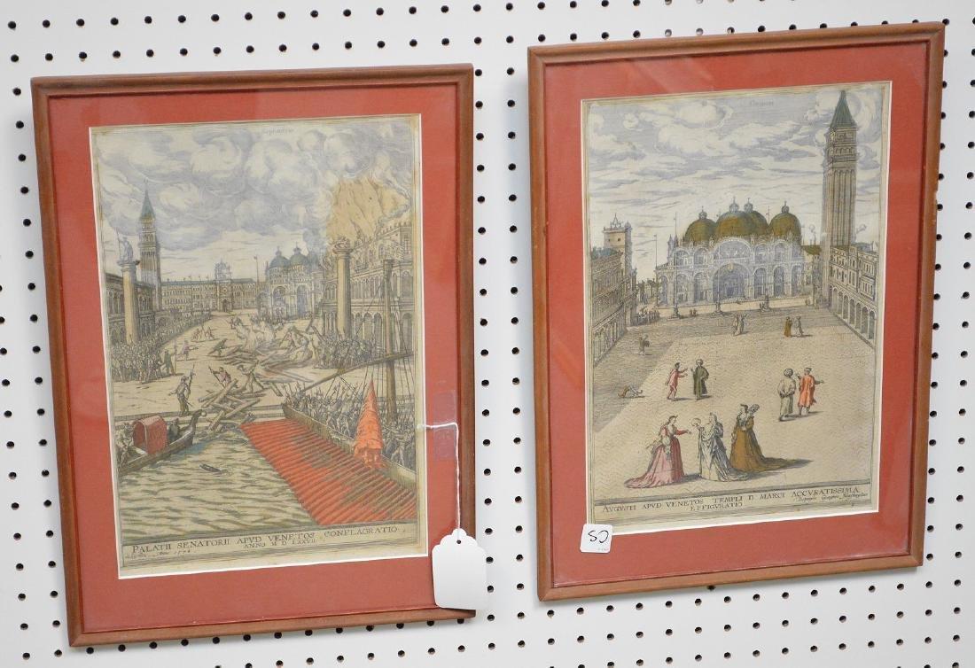 Pr. Antique Venetian Prints in red frames, . Each is 13