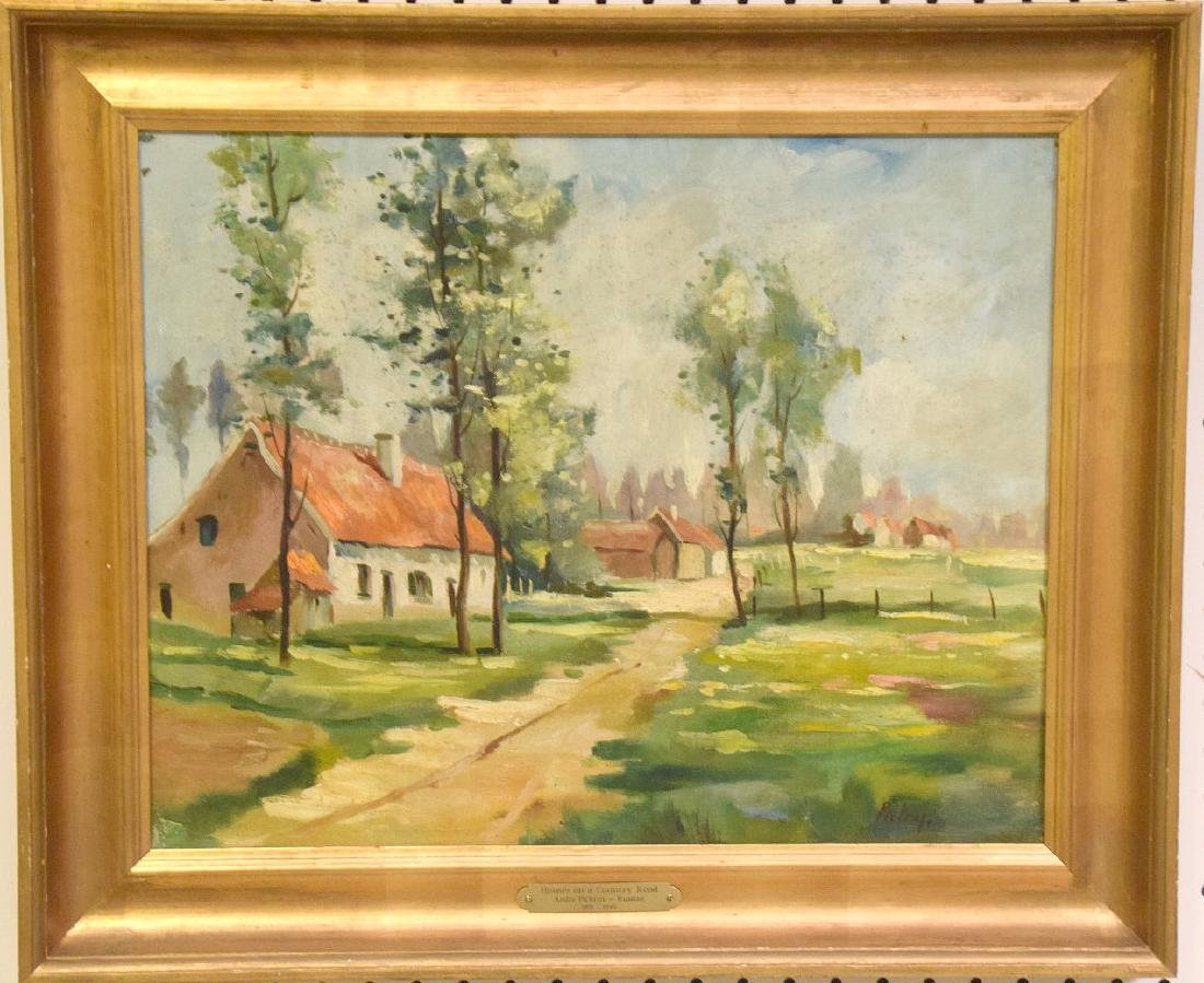 Andry Pickruy , oil on canvas, Landscape with houses,