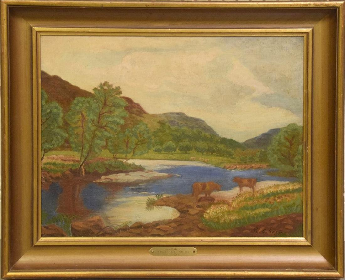 Richard Chase  (1891 - 1985) oil on canvas, river