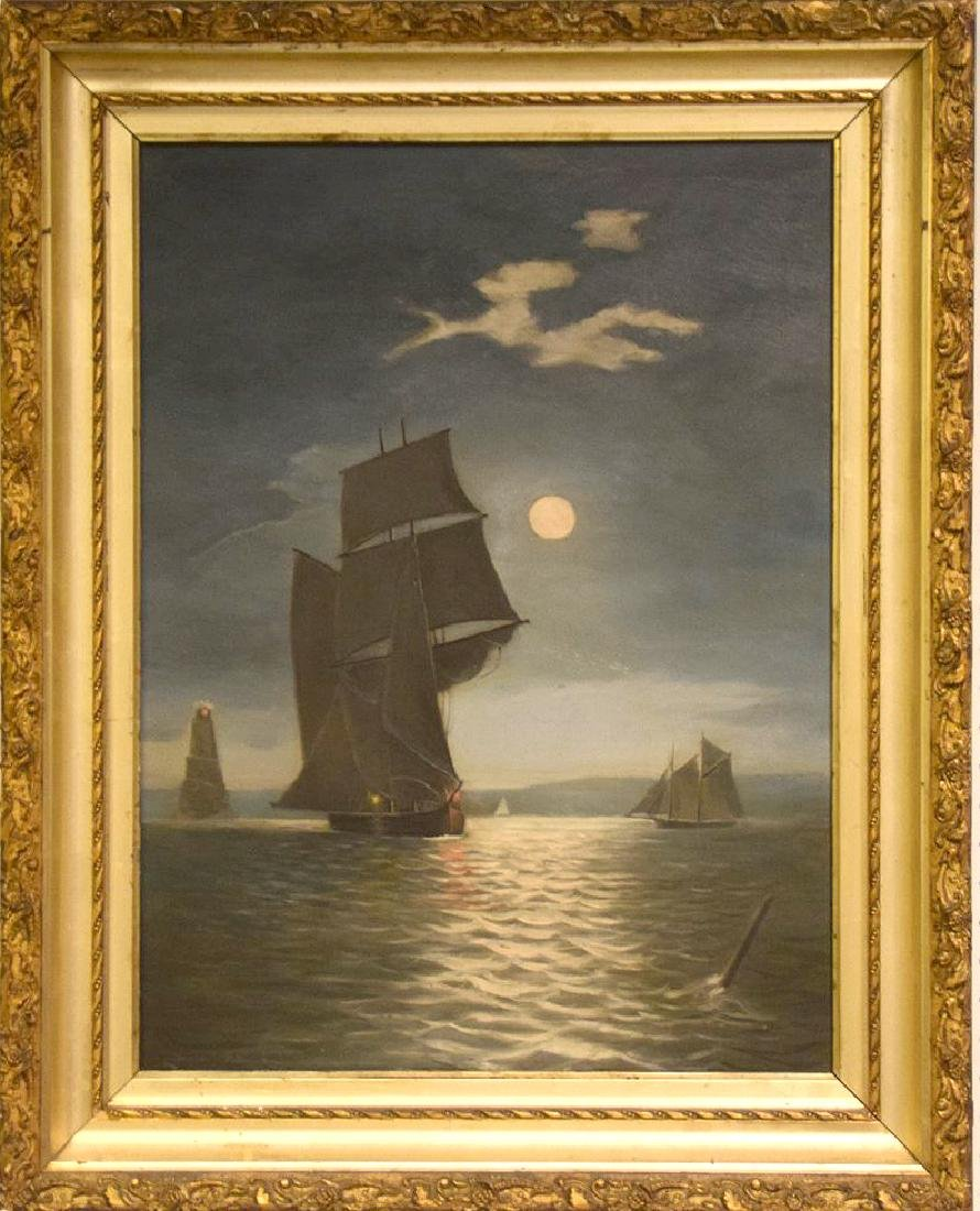 19th century American School oil on canvas, Sailing at