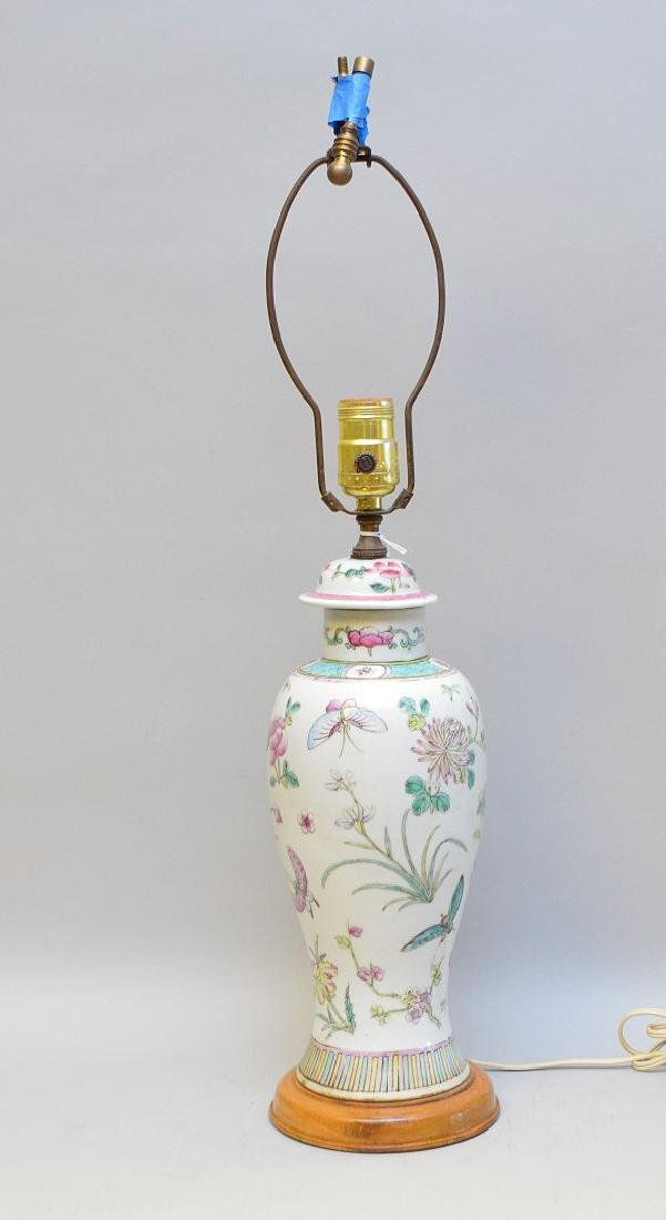 Chinese Export Butterfly Lamp on Wood Base. Turn of the