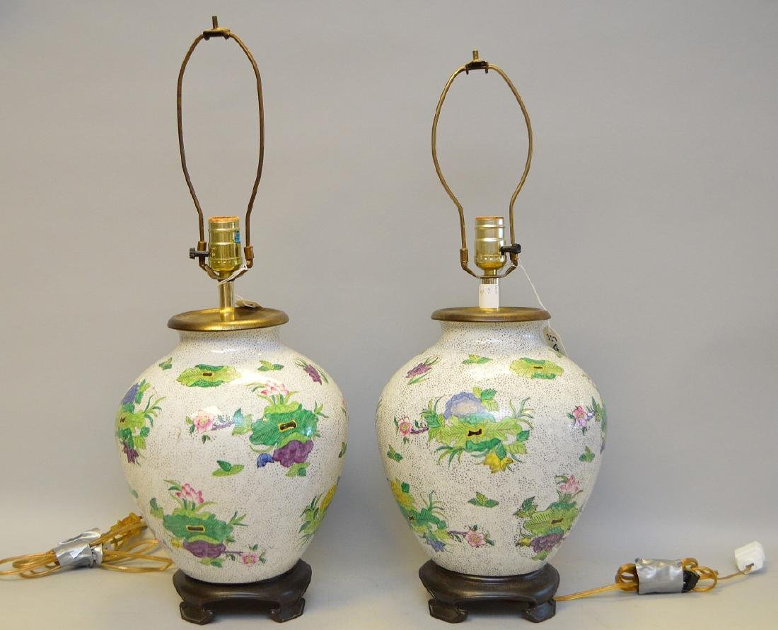 Large Pair of Chinese Vintage Export Hand Painted