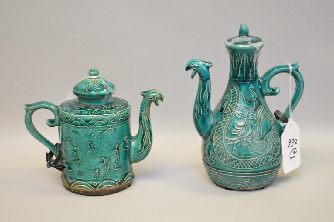 "2 figural Chinese turquoise teapots, 1920's, 6 3/4""h &"