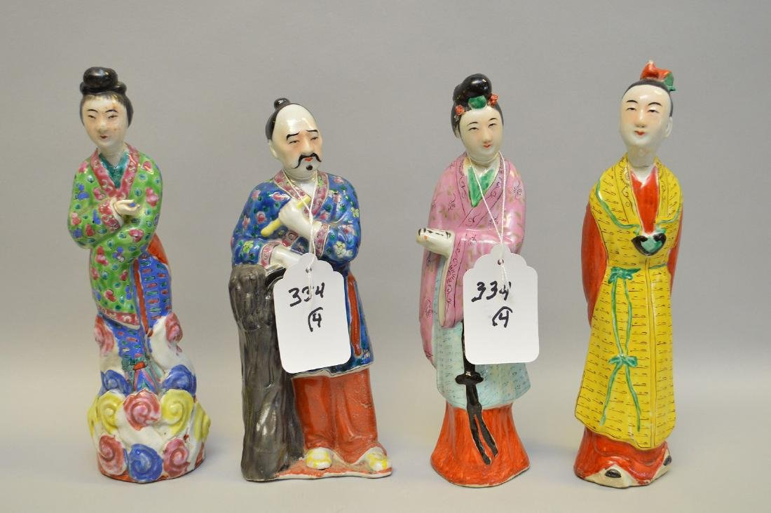 """Lot of 4 Chinese figures of Dignitaries, 9 1/2""""h"""