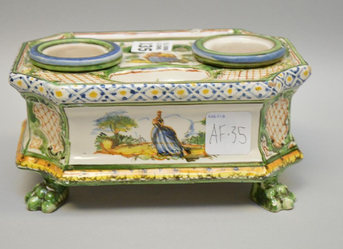 """18/19th c. French Faience inkstand, 3 1/4""""h x 6 3/4""""w x"""