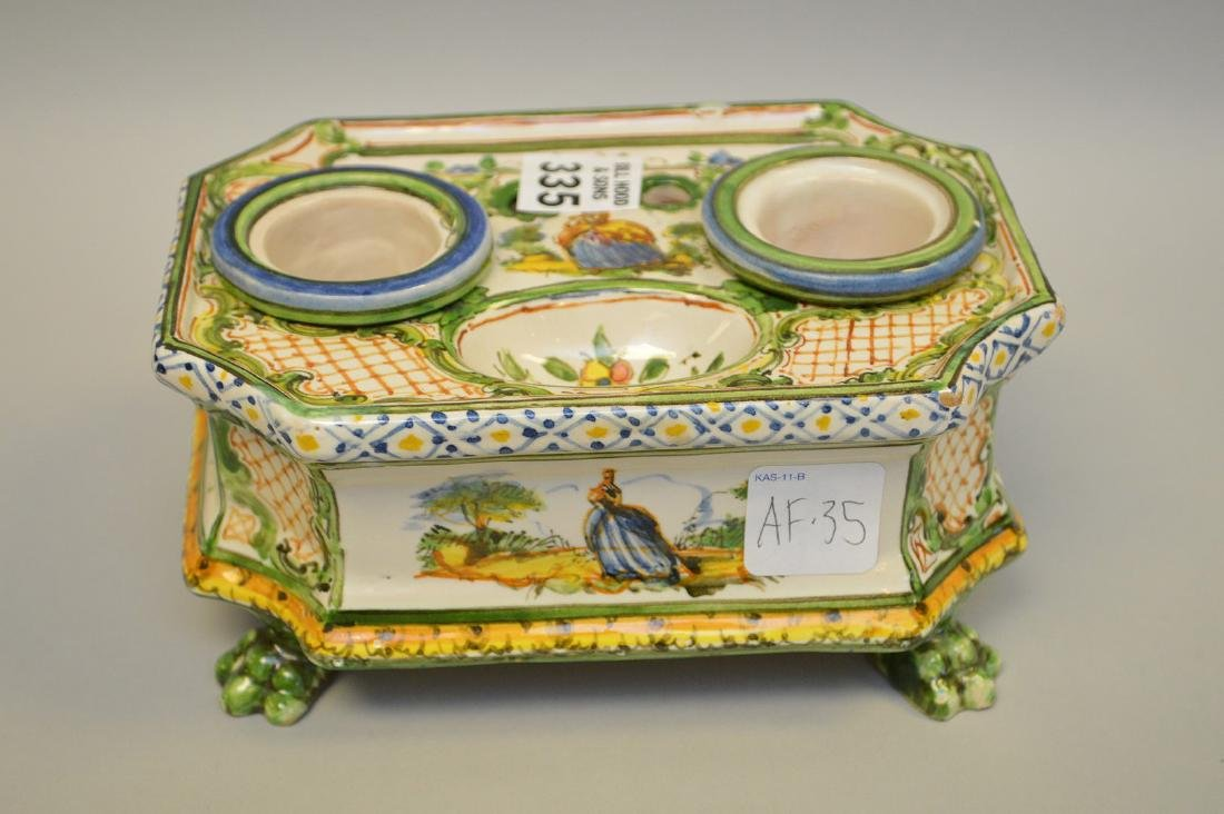 """18/19th c. French Faience inkstand, 3 1/4""""h x 6 3/4""""w x - 2"""