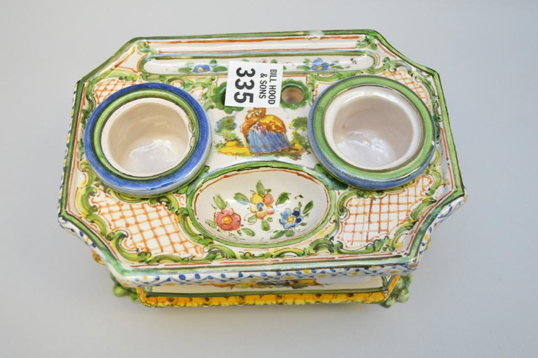"""18/19th c. French Faience inkstand, 3 1/4""""h x 6 3/4""""w x - 3"""