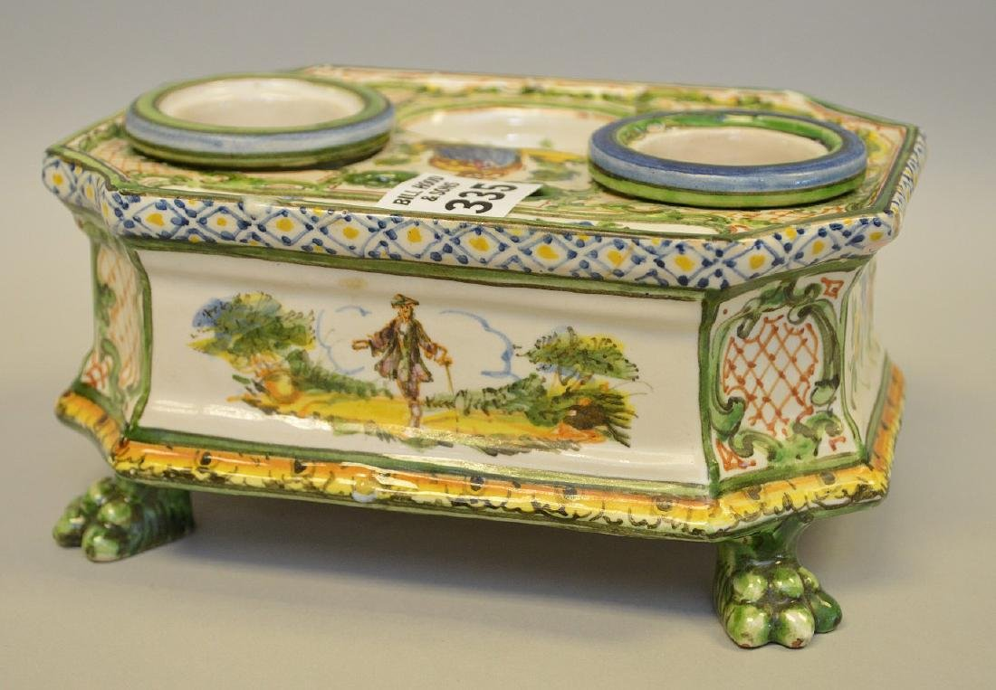 """18/19th c. French Faience inkstand, 3 1/4""""h x 6 3/4""""w x - 4"""