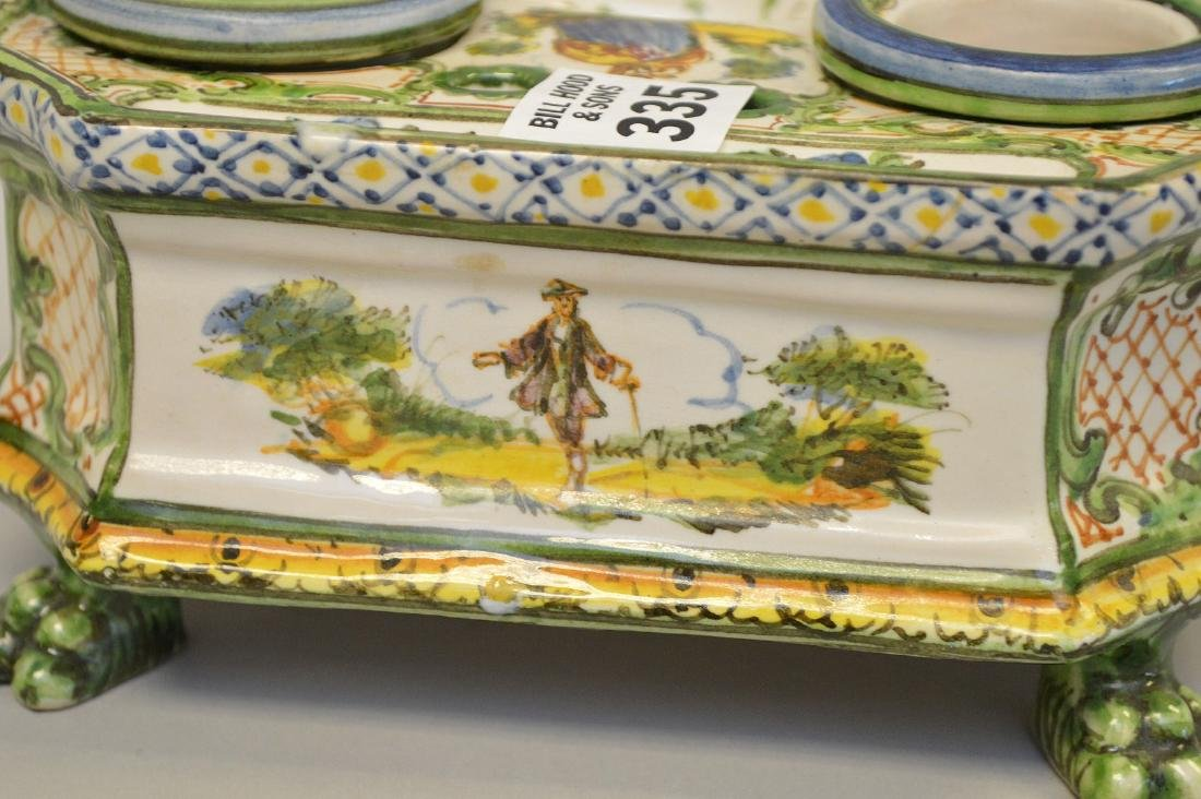 """18/19th c. French Faience inkstand, 3 1/4""""h x 6 3/4""""w x - 5"""