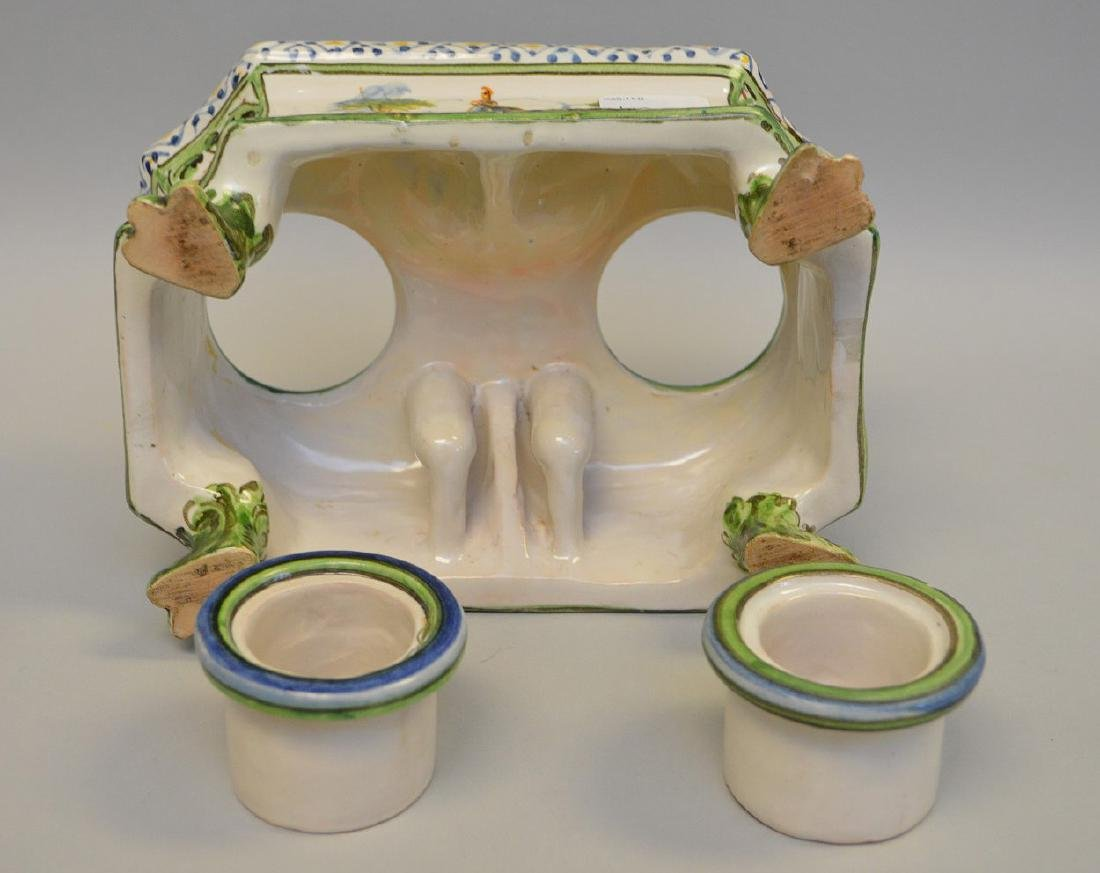 """18/19th c. French Faience inkstand, 3 1/4""""h x 6 3/4""""w x - 6"""