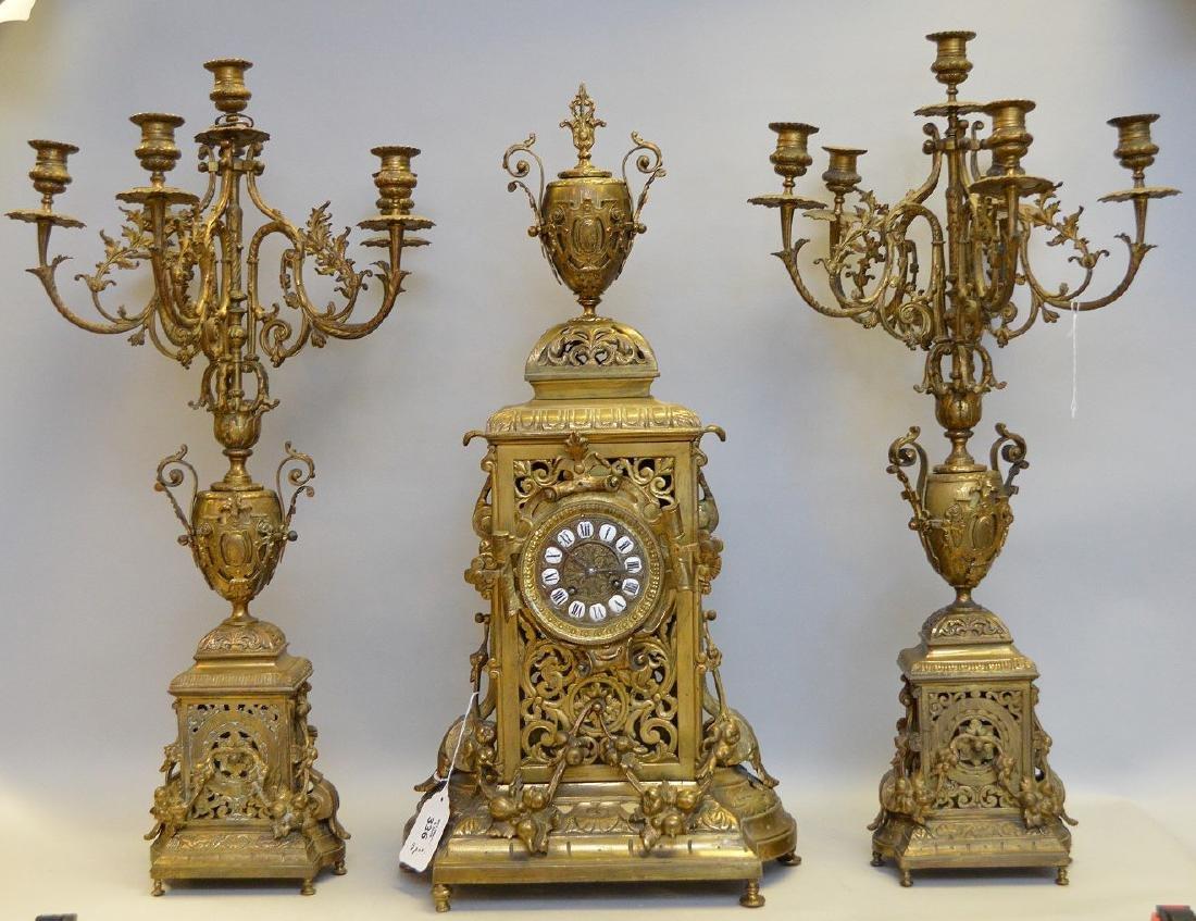 "3 pc. Garniture set, clock (26""h) and candelabras"