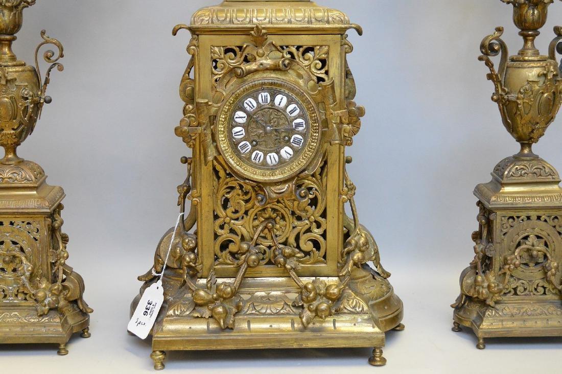 "3 pc. Garniture set, clock (26""h) and candelabras - 2"