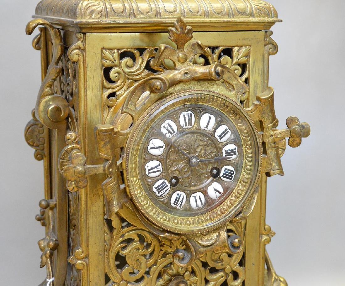 "3 pc. Garniture set, clock (26""h) and candelabras - 3"