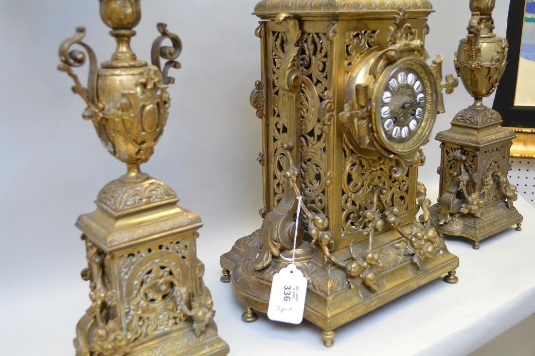 "3 pc. Garniture set, clock (26""h) and candelabras - 4"