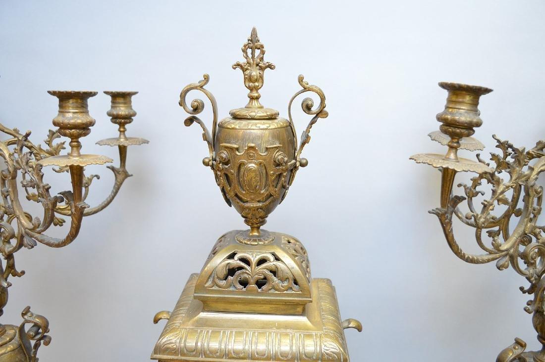 "3 pc. Garniture set, clock (26""h) and candelabras - 5"