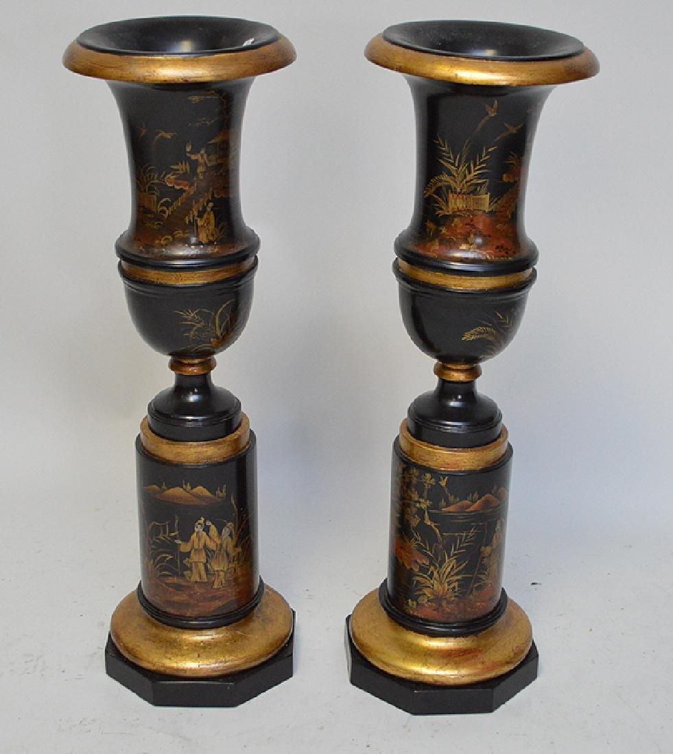 """Pair Painted oriental motif urn form vases, 28""""h"""