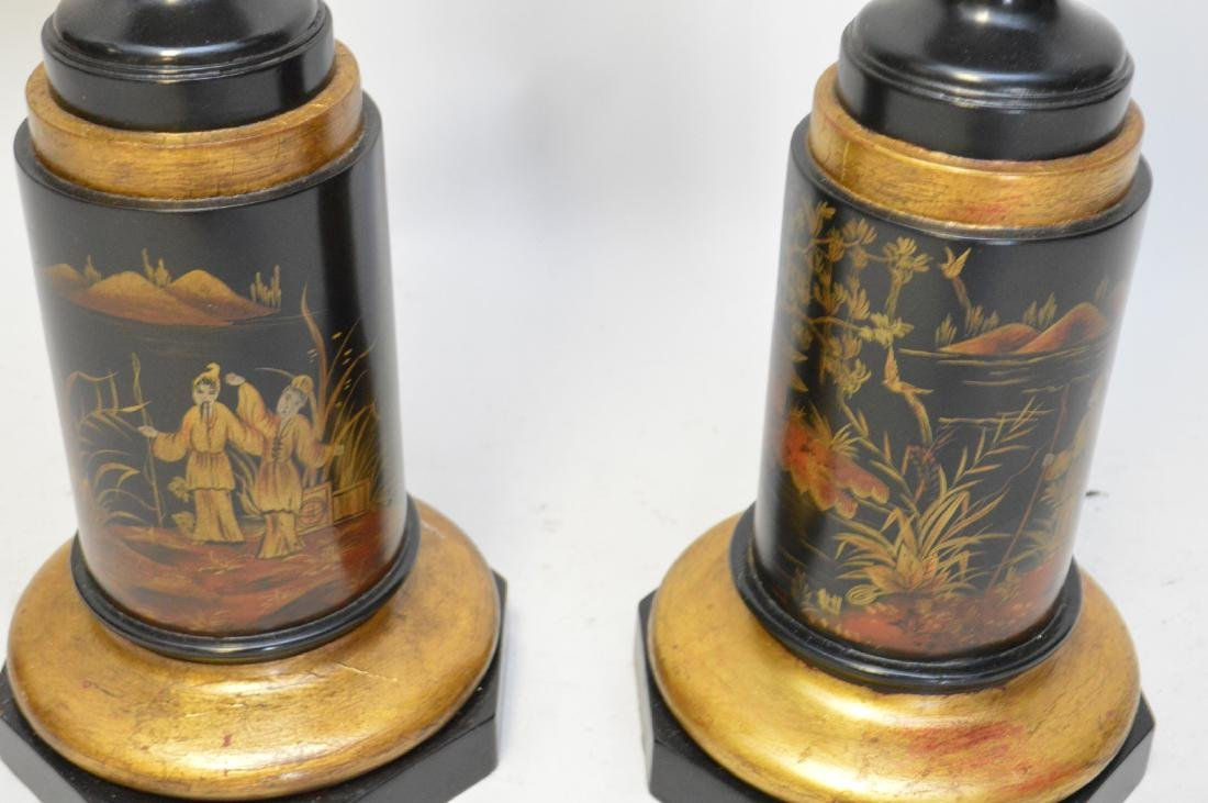 """Pair Painted oriental motif urn form vases, 28""""h - 3"""