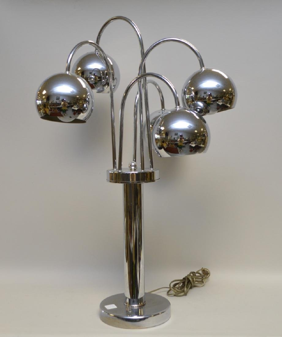 Cylindrical chrome lamp with 5 adjustable sphere shape