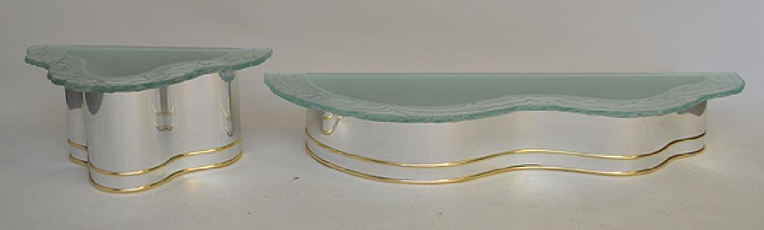 2 frosted glass wavy edged shelves with conforming