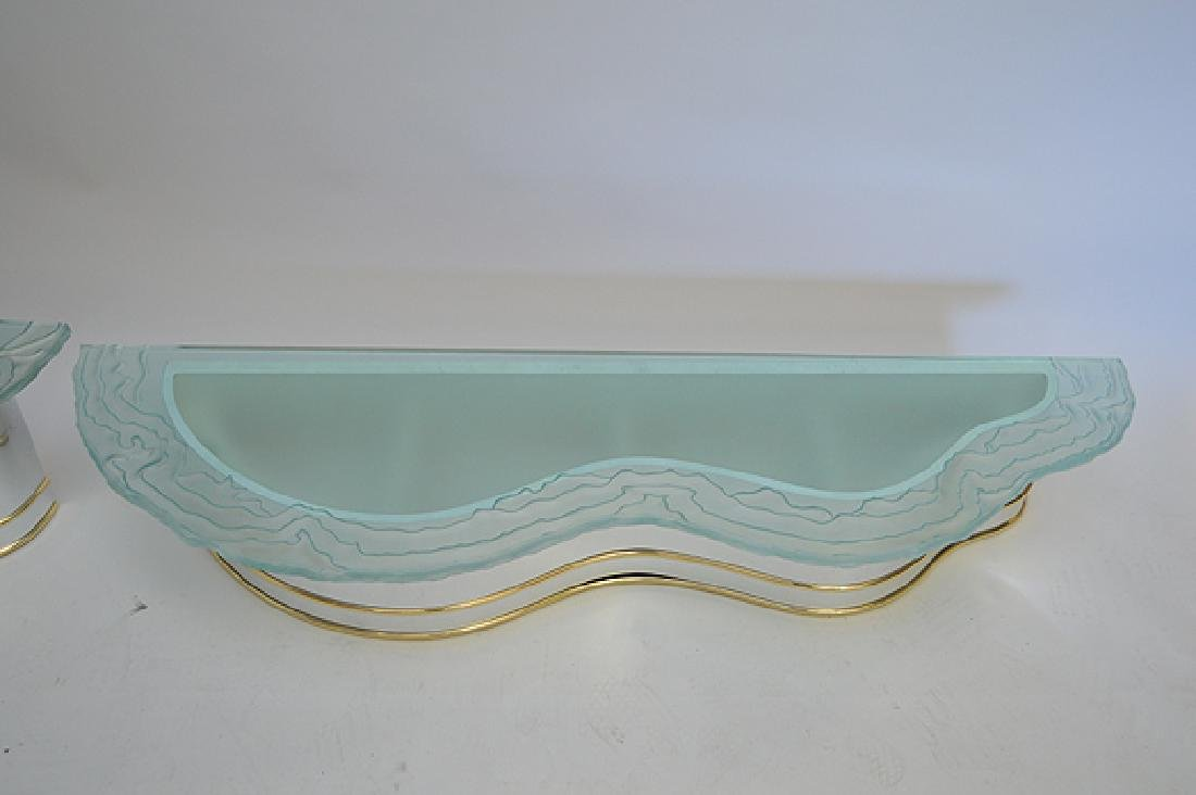 2 frosted glass wavy edged shelves with conforming - 2