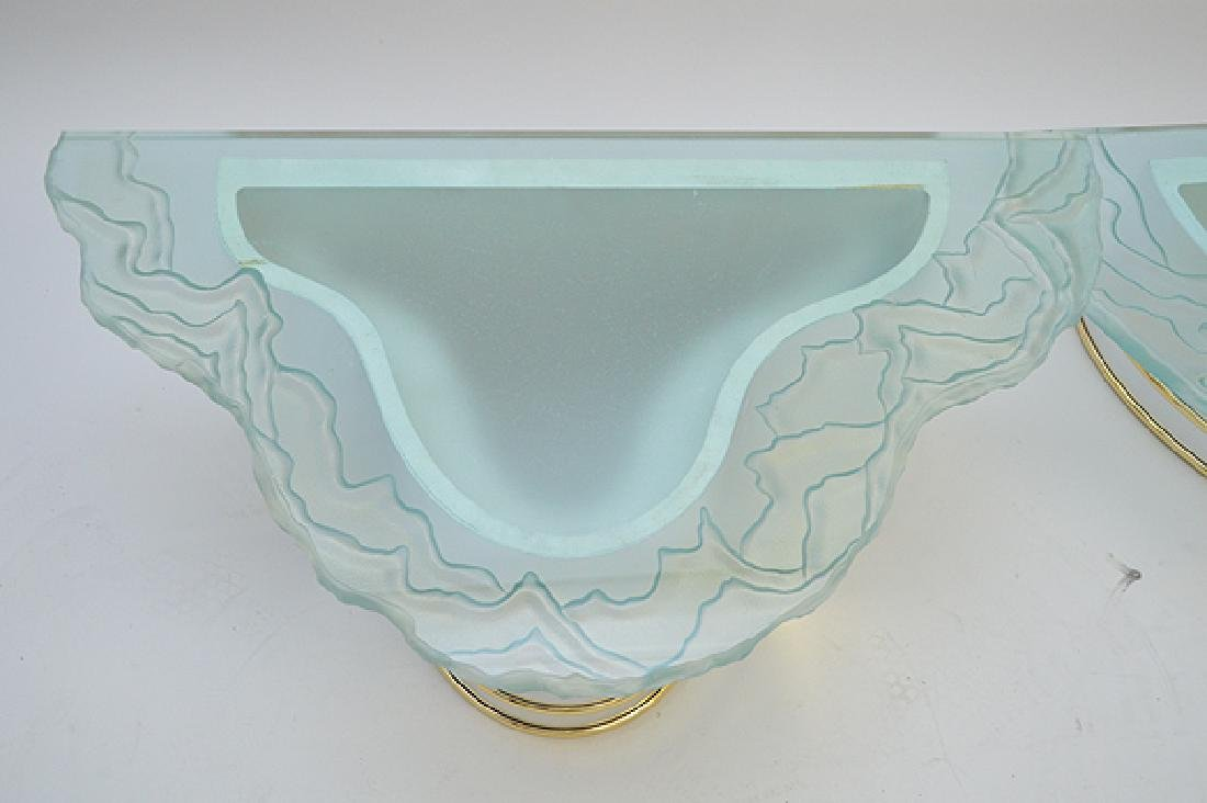 2 frosted glass wavy edged shelves with conforming - 3