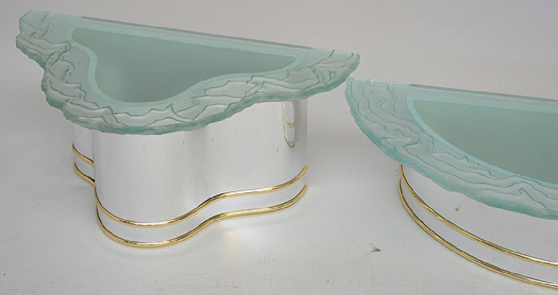 2 frosted glass wavy edged shelves with conforming - 4