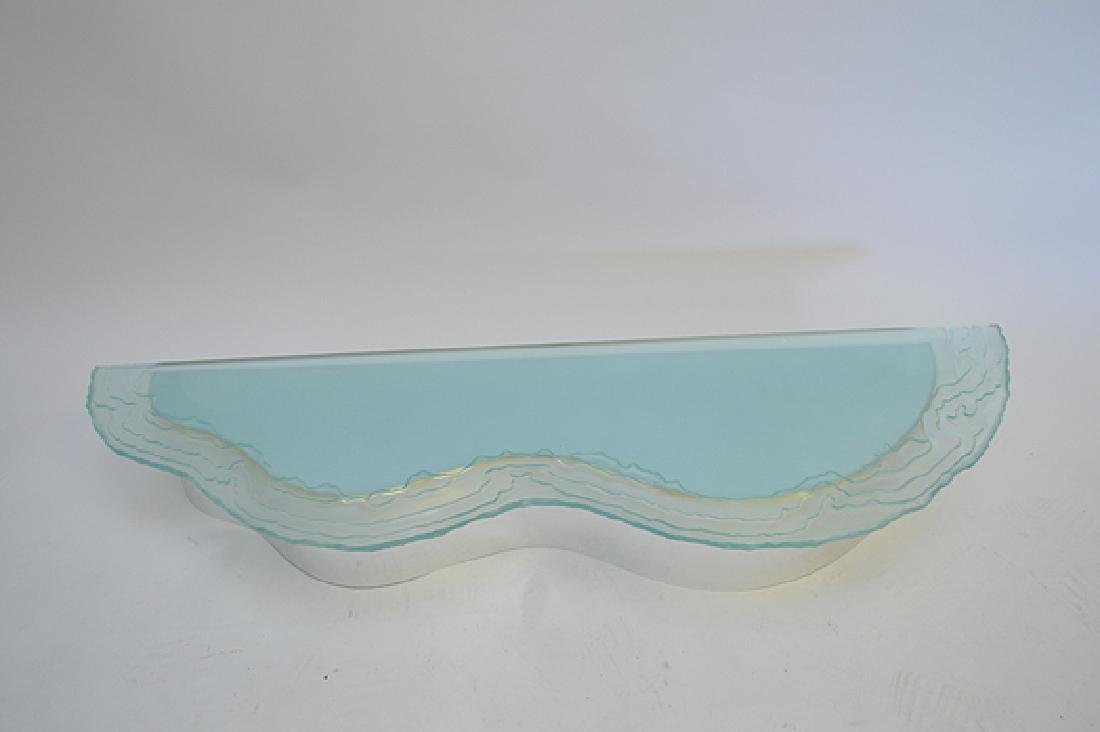 2 frosted glass wavy edged shelves with conforming - 6