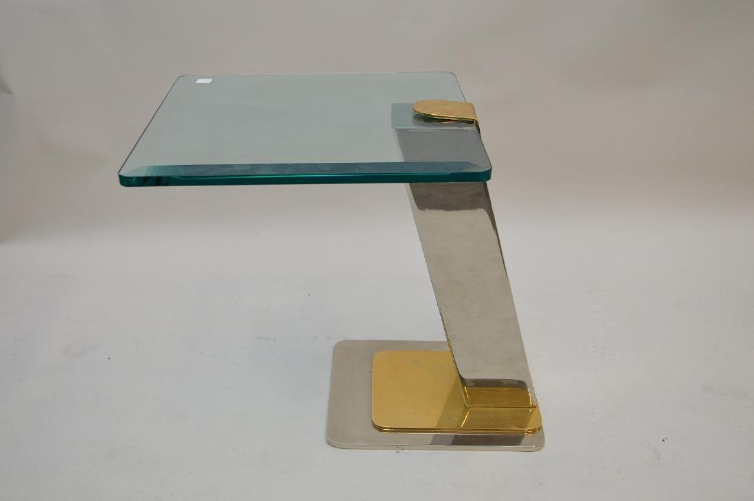Occasional side table beveled glass on chrome and brass