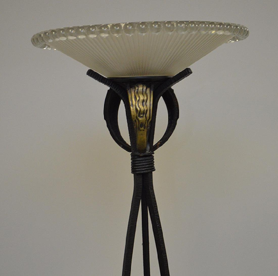 Deco Black iron floor lamp with reeded glass shade, - 2