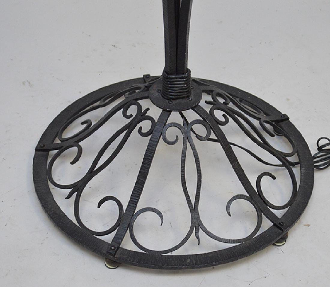 Deco Black iron floor lamp with reeded glass shade, - 4