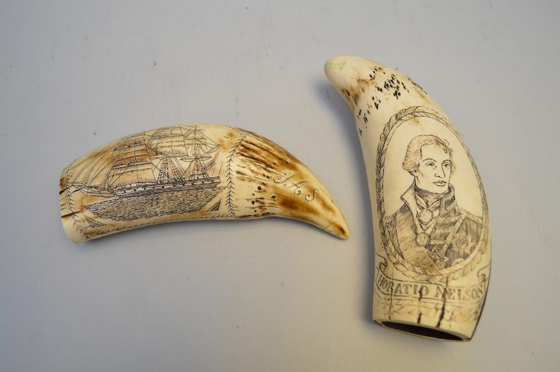 2 Scrimshaw Whales Tooth reproductions, Horatio Nelson