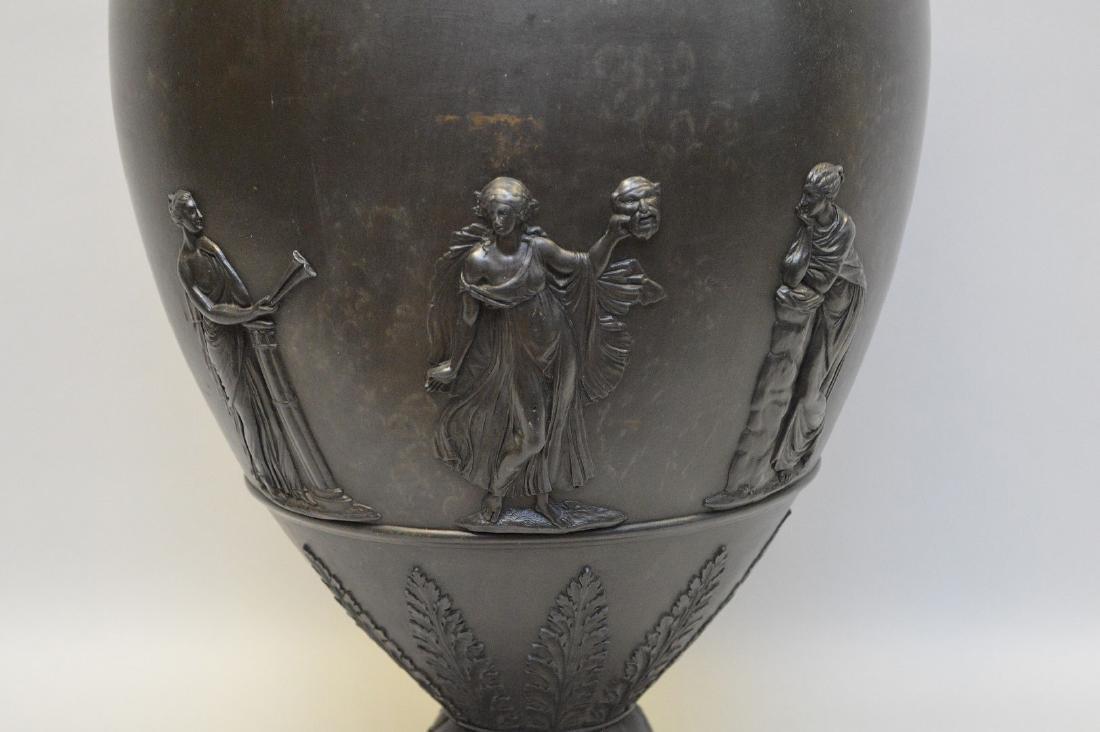 """Large Wedgwood black Basalt covered urn, 21""""h - 3"""