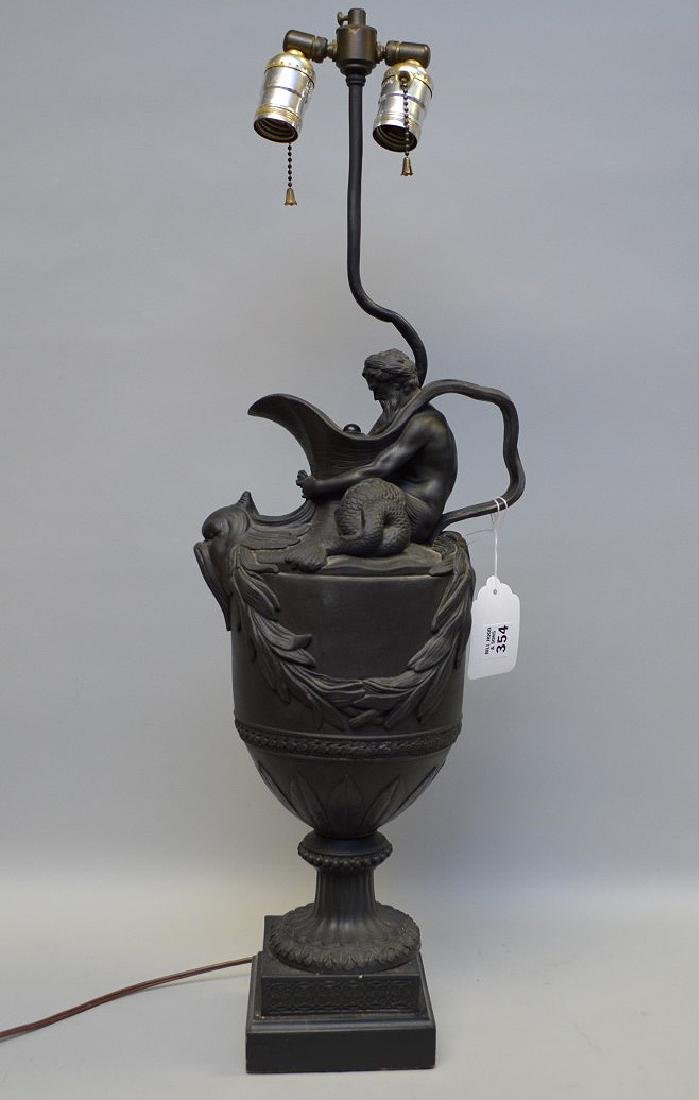 """Wedgwood black Basalt mythological urn form lamp, (21""""h"""