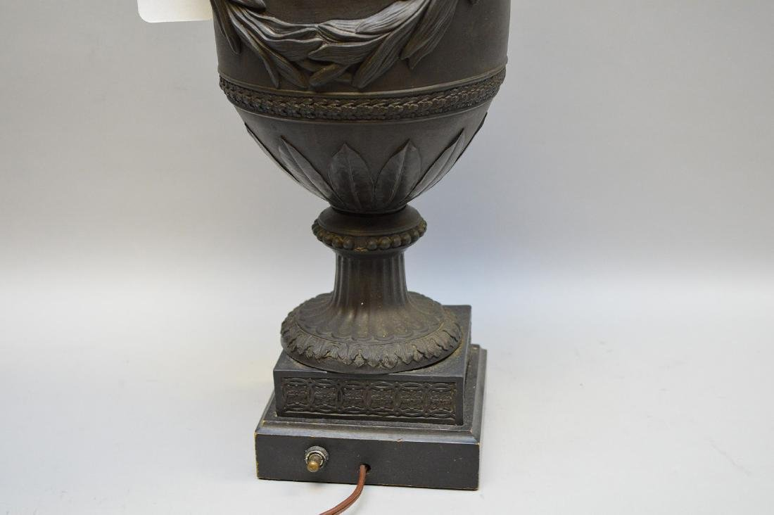 "Wedgwood black Basalt mythological urn form lamp, (21""h - 5"